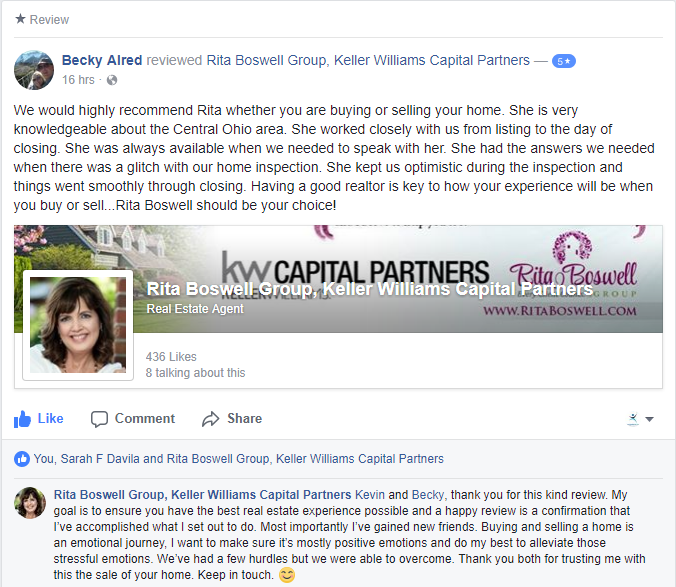 Lewis Center OH Home Seller Review of Rita Boswell