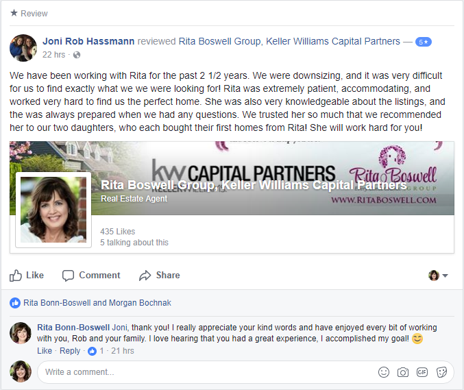 Lewis Center Ohio Realtor Rita Boswell Review
