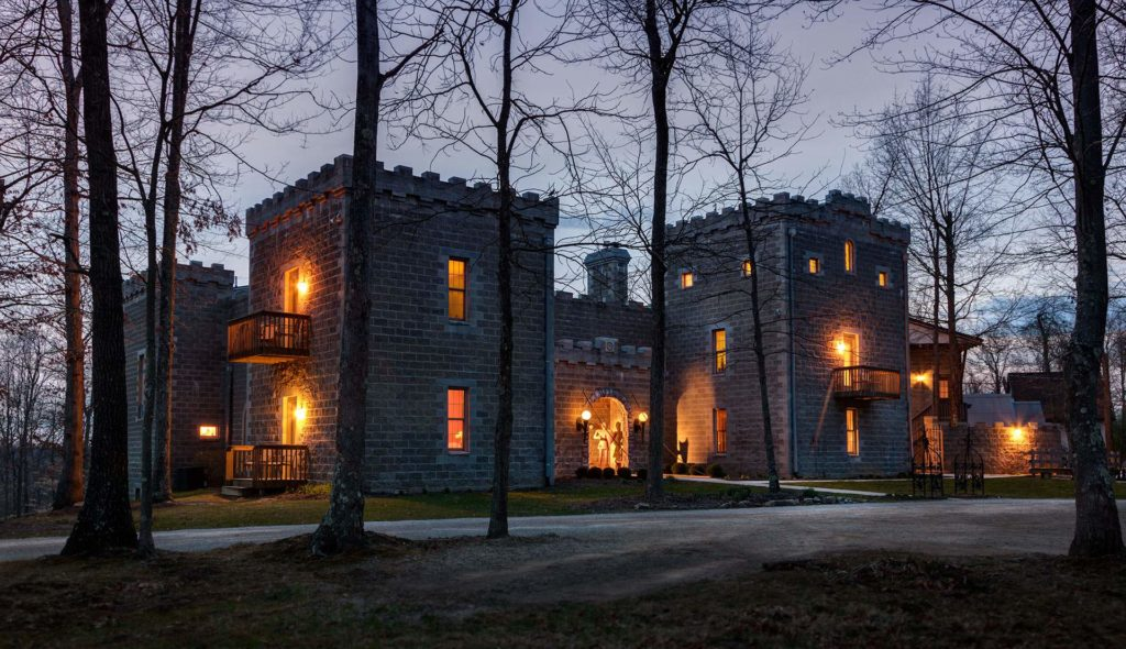 Ravenwood Castle at night with lights