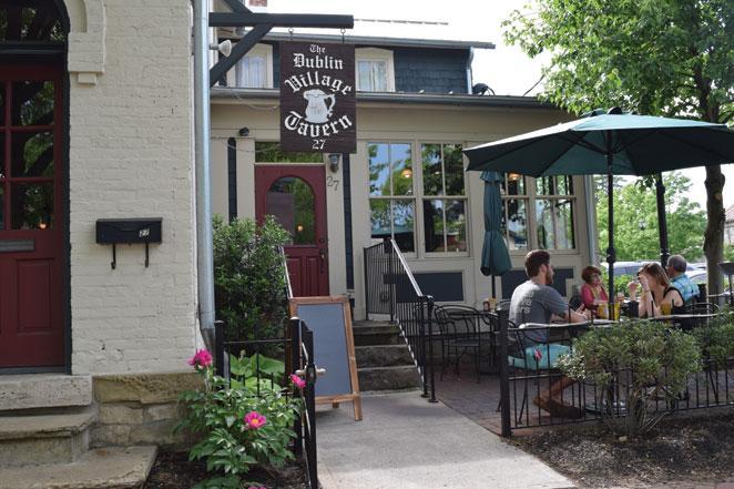 Pub sign for Dublin Village Tavern in Dublin Ohio