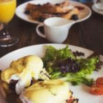 eggs benedict and orange juice