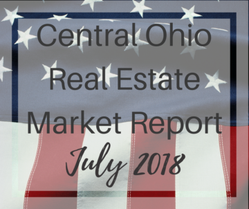 American flag background with Central Ohio Real Estate Market Report overlay