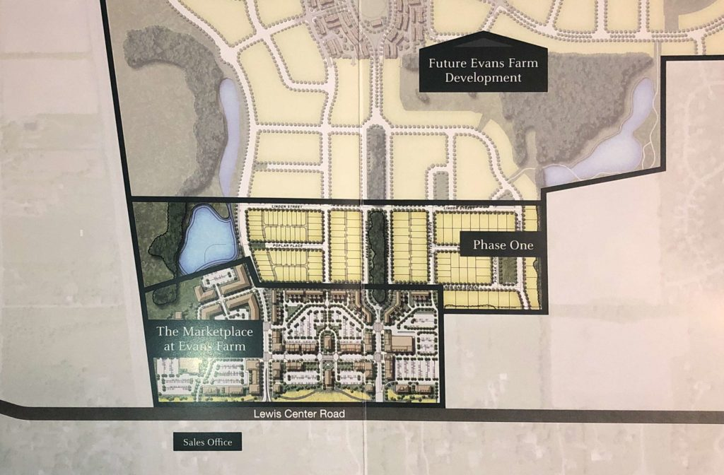 Development Map of Evans Farm Phase 1 and future development