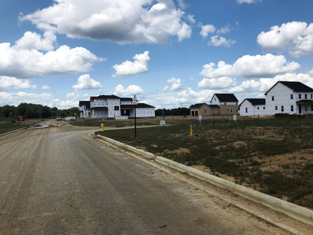new homes under construction in Evans Farm of Lewis Center Ohio