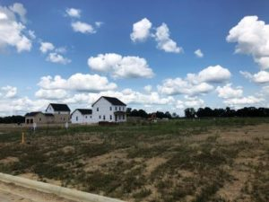 new homes under construction in Evans Farm in Lewis Center OH