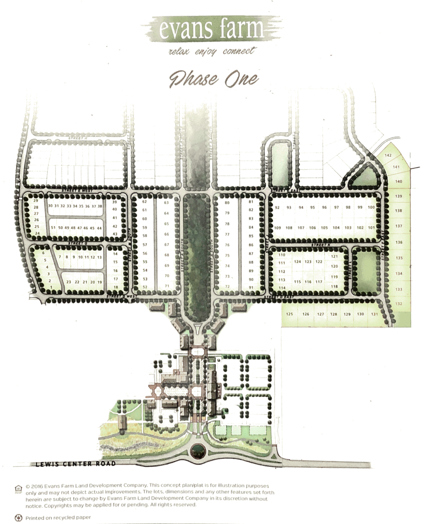 map of Phase 1 of Evans Farm neighborhood in Lewis Center
