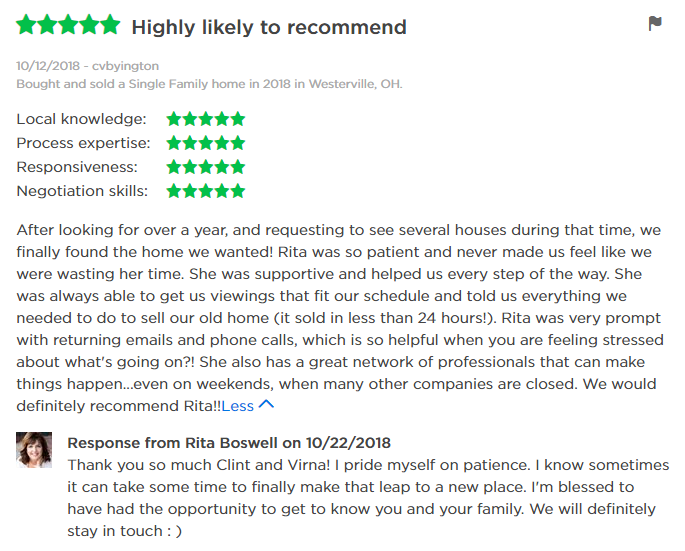 5 Star Zillow Review of Columbus Realtor Rita Boswell