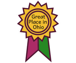 "Gold, pink, green ribbon says ""Great Place In Ohio"" for Delaware Ohio"