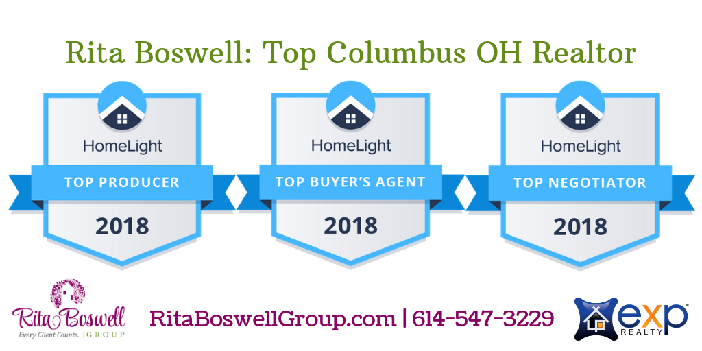 Row of Three HomeLight awards in blue and gray naming Rita Boswell a Top Producer, Top Buyer's Agent, and Top Negotiator in 2018