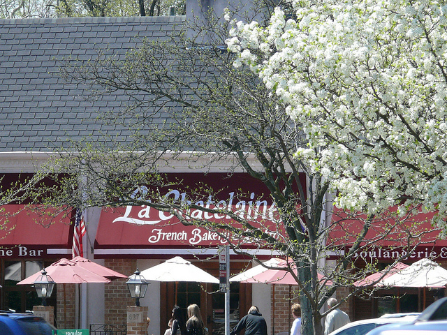 french bakery with red sign and white spring flower trees in bloom