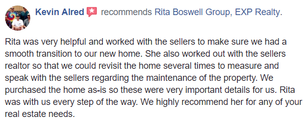 Screenshot of Facebook recommendation by Kevin Alred about Realtor Rita Boswell